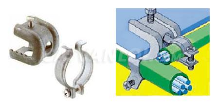 Kết hợp với kẹp xà gồ chữ C để giữ ống thép luồn dây điện