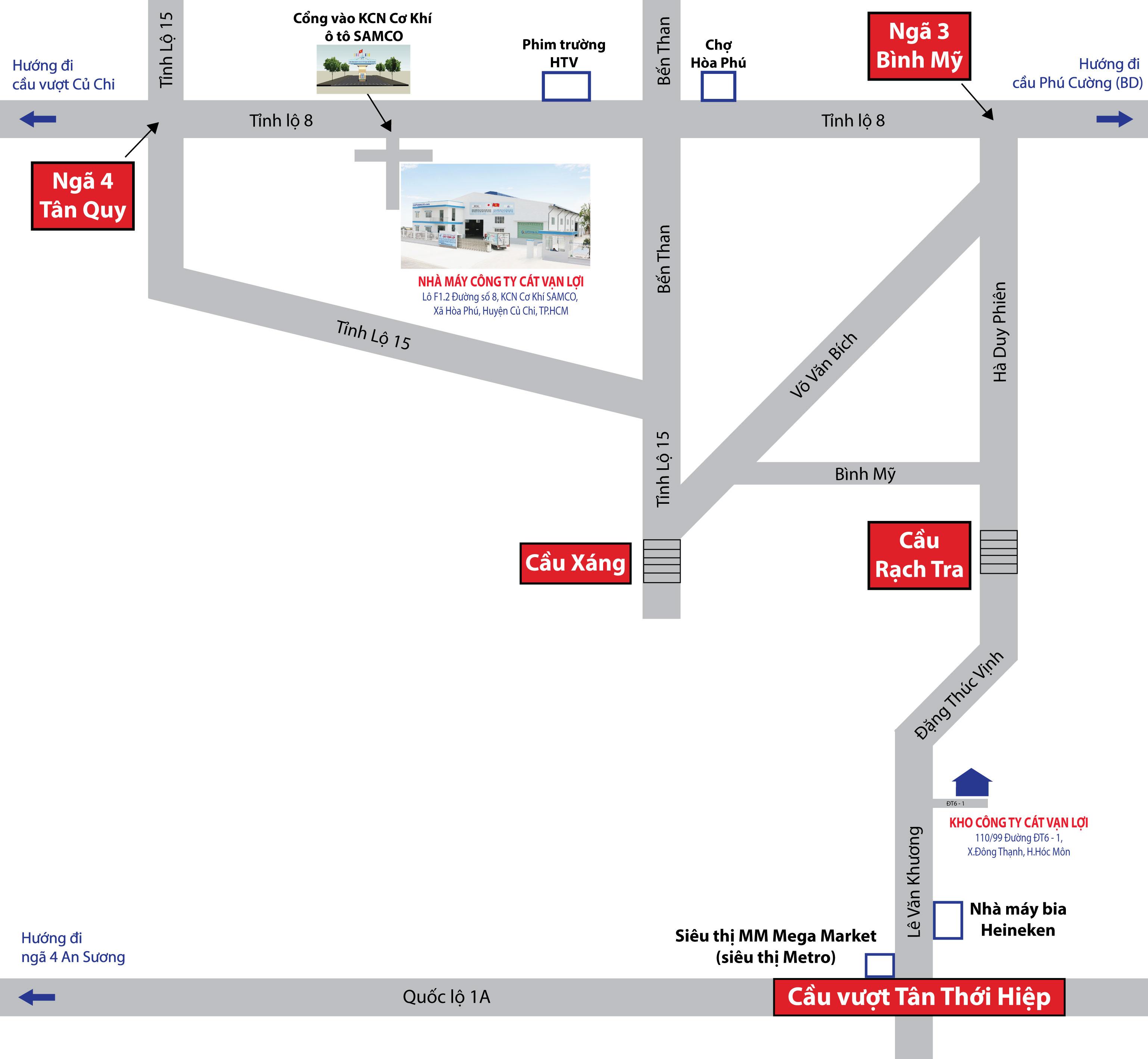 sơ đồ đường đi Kho công ty Cát Vạn Lợi