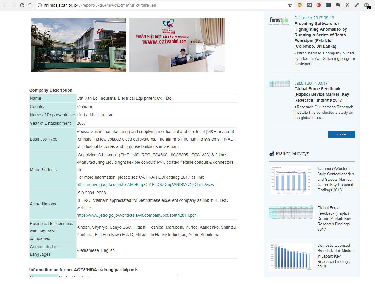 Giới thiệu về công ty Cát Vạn Lợi tại website của Viện Nghiên Cứu ARI