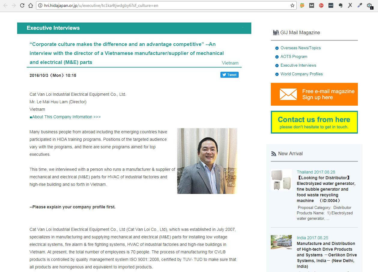 Bài phỏng vấn Ông Lê Mai Hữu Lâm - Giám đốc công ty thiết bị điện công nghiệp Cát Vạn Lợi