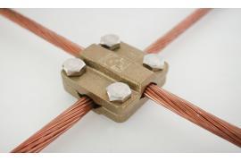 Kẹp đồng thoát sét 4 ngã 3x25 (Square tape clamp) tiếp địa & chống sét chuẩn IEC 62561/TCVN 9385